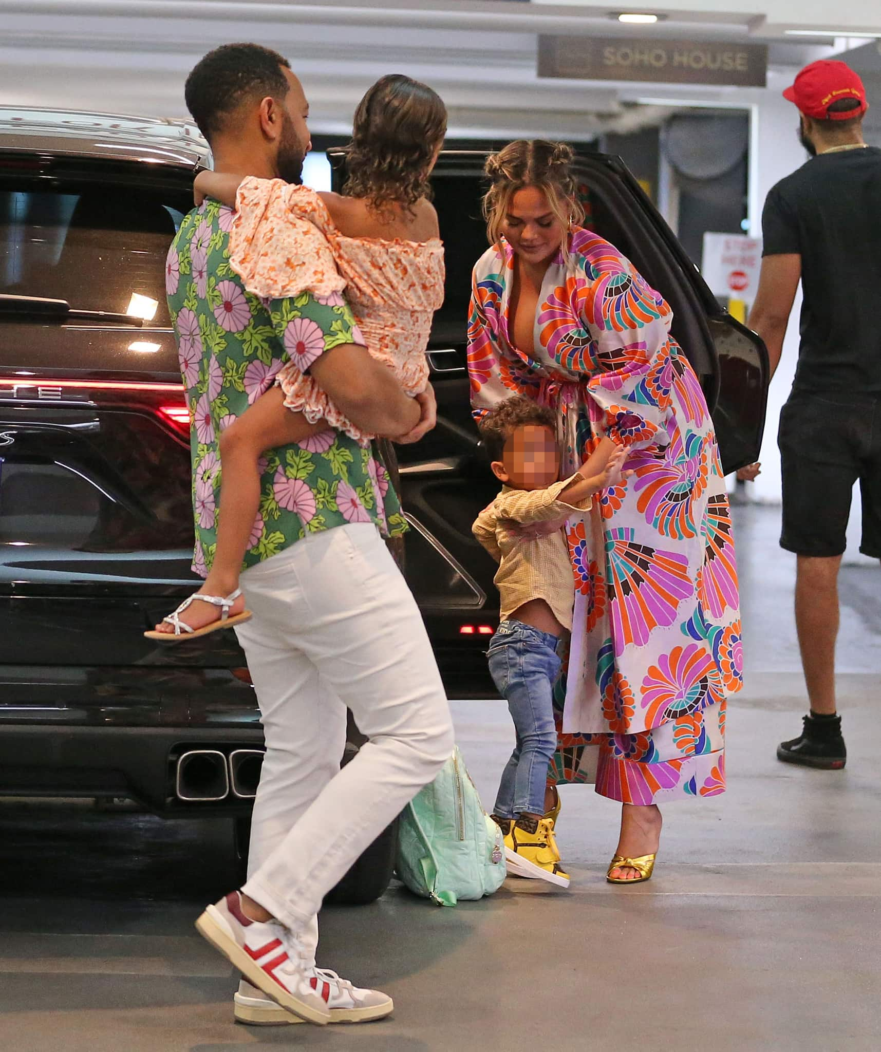 Chrissy Teigen and John Legend take their kids, Lune and Miles, to lunch at Soho House in West Hollywood on June 26, 2021