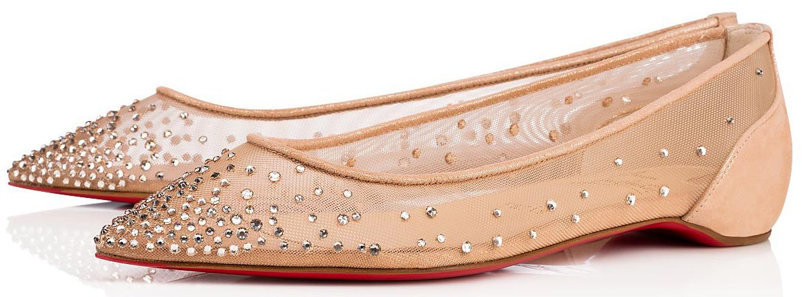 The Follies Strass takes its name from a Parisian cabaret and has iridescent strass crystals on the light silk mesh upper