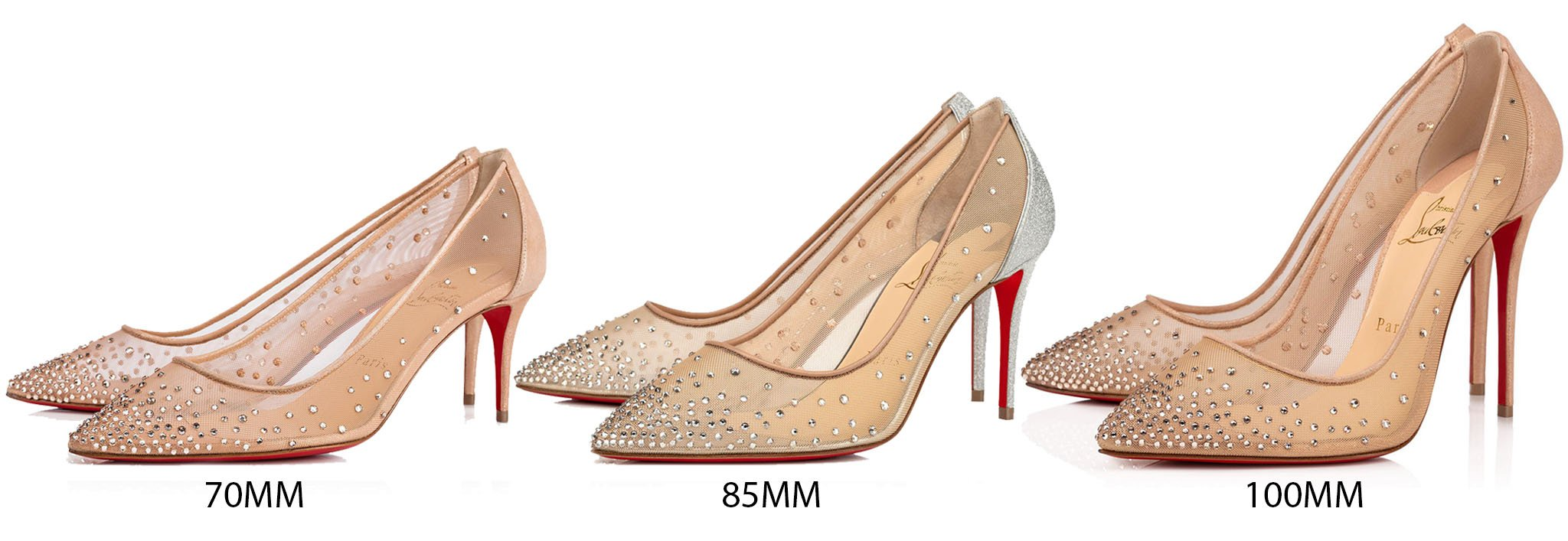 For special occasions, why not opt for the heeled Follies Strass, available in different heel heights