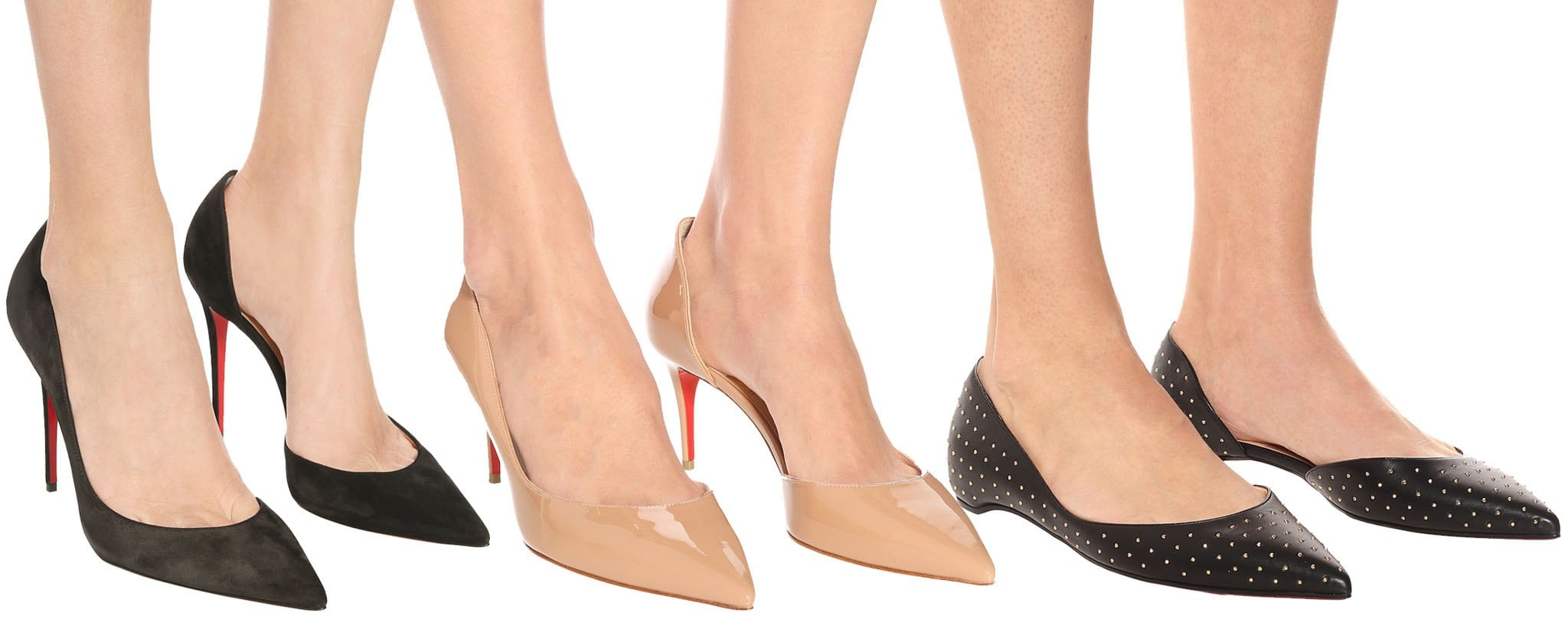 The Iriza comes in a sexy d'Orsay silhouette and is available in 100mm, 70mm, and ballet flats