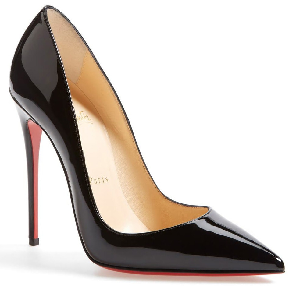 A glossy pointed-toe pumps that boast Christian Louboutin's finest stiletto heel