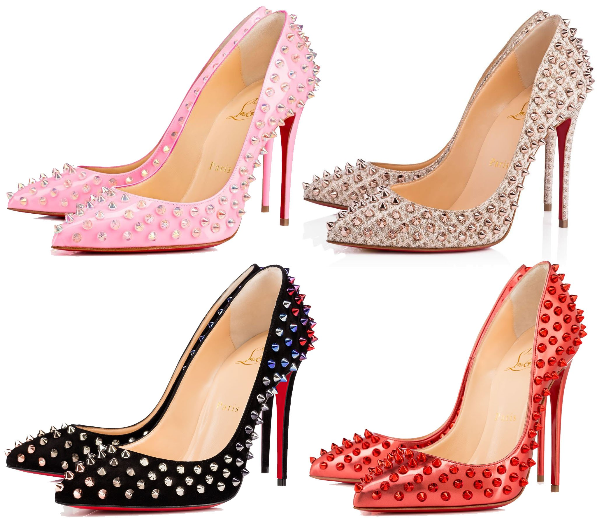 The Follies Spikes pump features Louboutin's classic sky-high silhouette with edgy spike studs