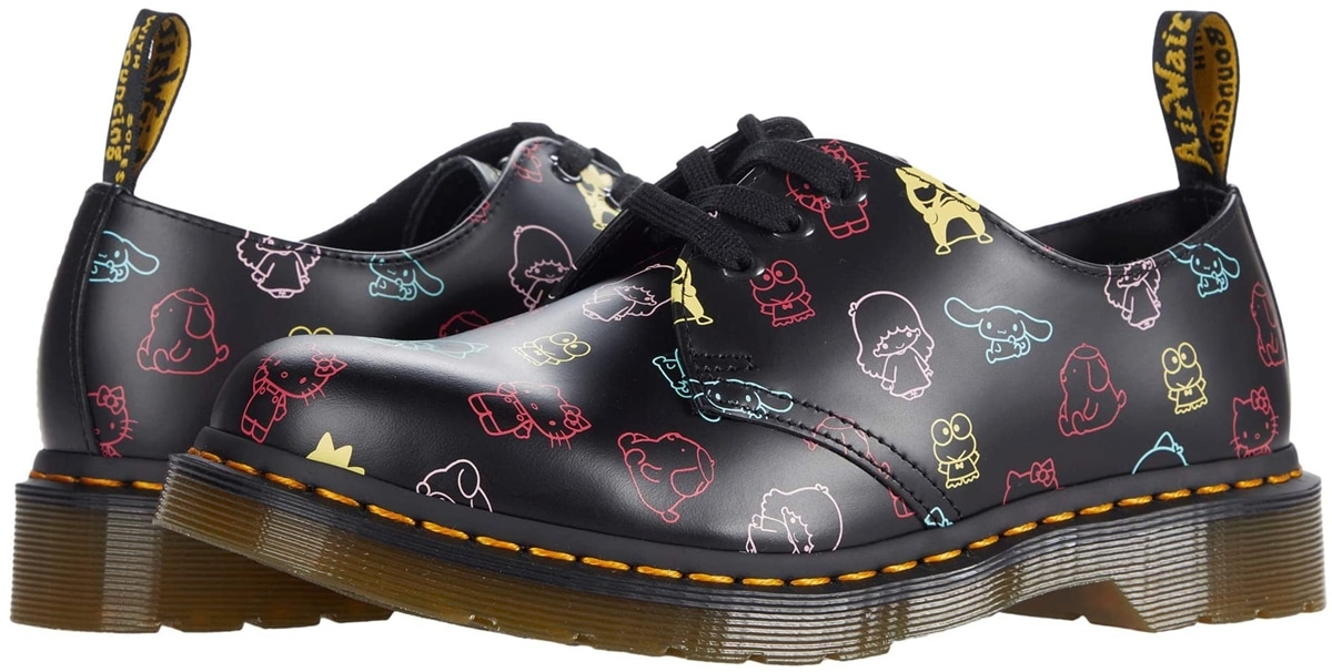 Dr. Martens 1461 Sanrio lug-sole platform derby crafted in a smooth leather upper printed with a multi-color allover Hello Kitty pattern