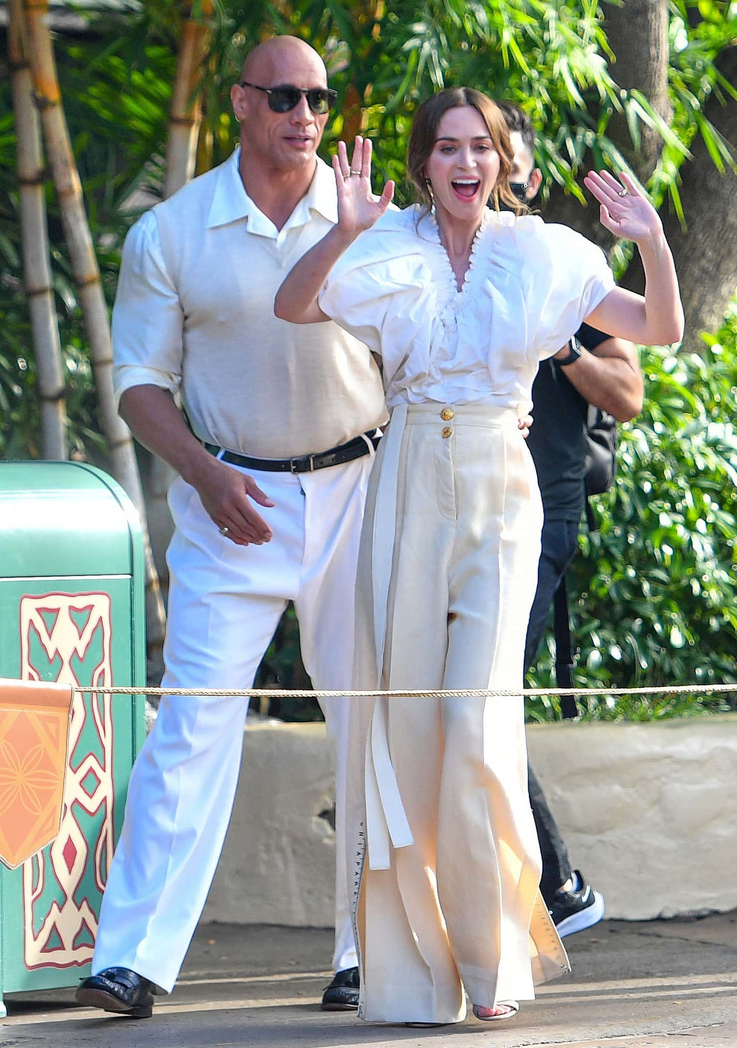 Dwayne Johnson and Emily Blunt ride the Jungle Cruise attraction at Disneyland in Anaheim, California on July 24, 2021