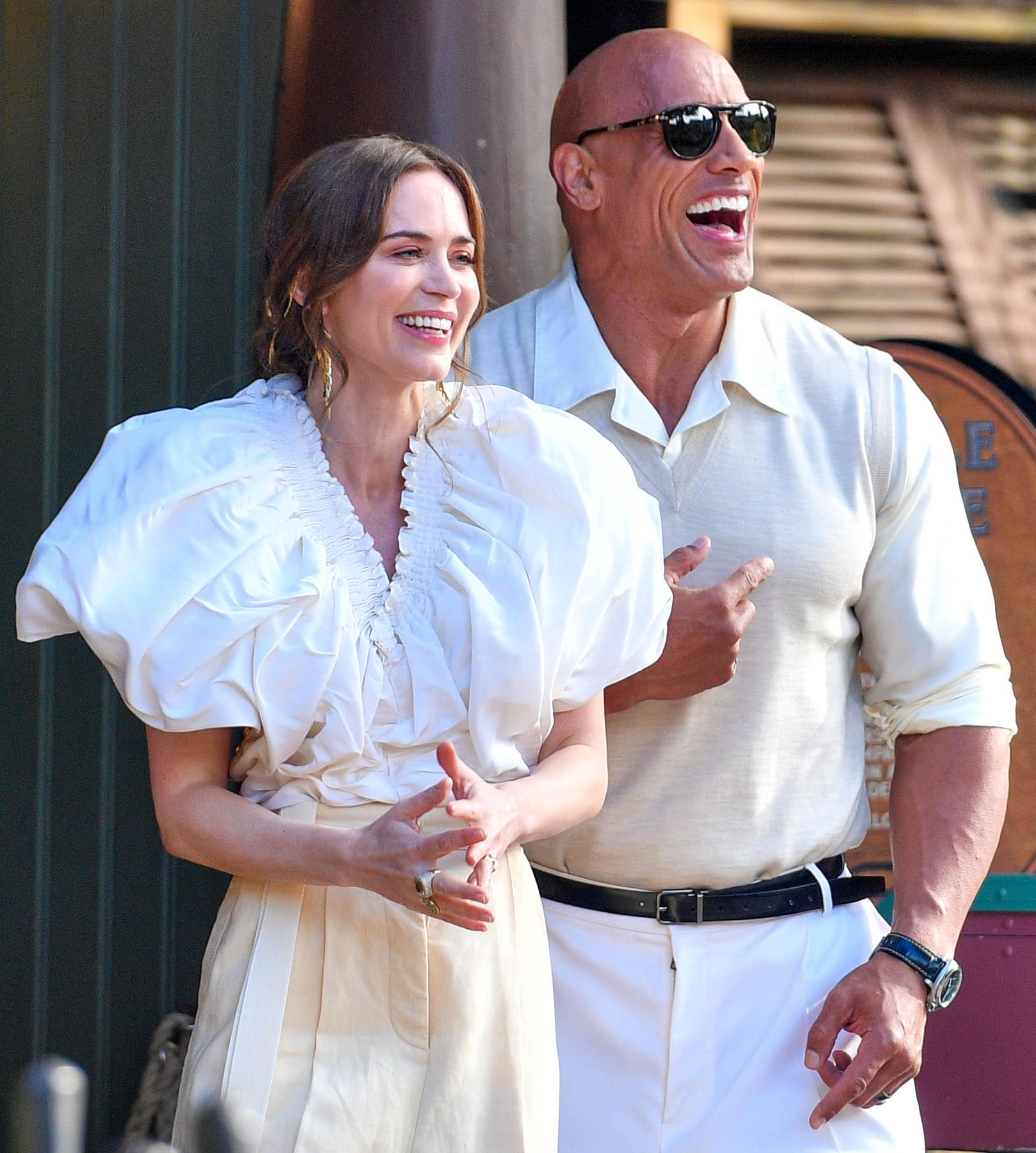 Emily Blunt reveals it's her first time riding the Jungle Cruise during the premiere of her namesake movie