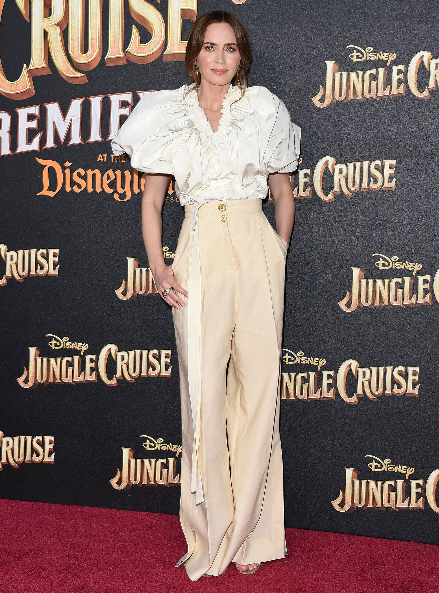Emily Blunt wows in her Schiaparelli voluminous puffy blouse and high-waist pants