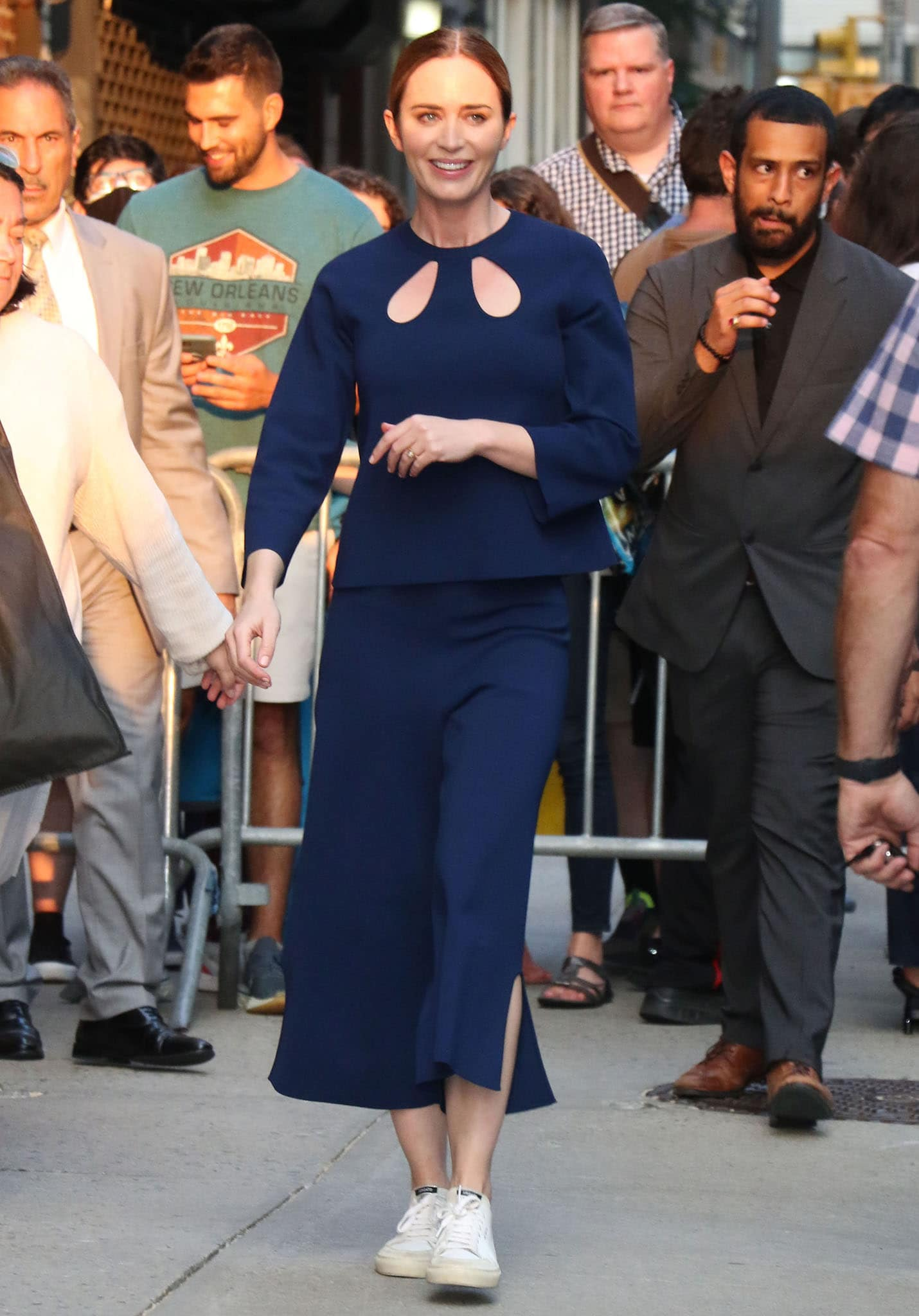 Emily Blunt wears a sustainable knit top and matching culottes from Stella McCartney