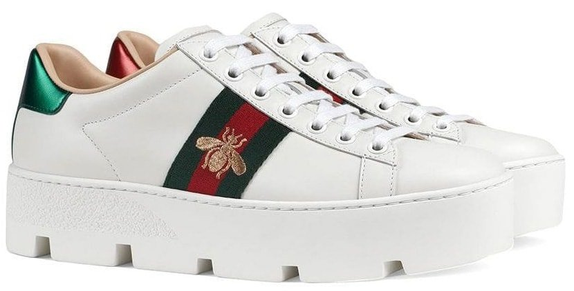 Gucci's classic Ace silhouette is updated with a platform for an elevated look