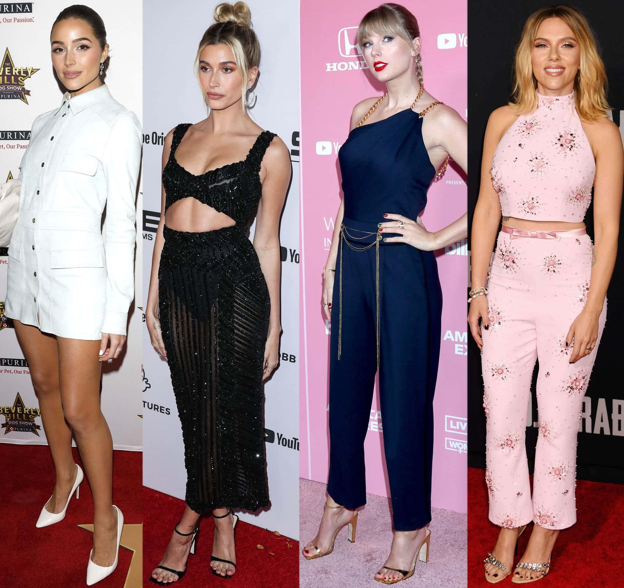 Hollywood stars Olivia Culpo, Hailey Bieber, Taylor Swift, and Scarlett Johansson in Sergio Rossi heels
