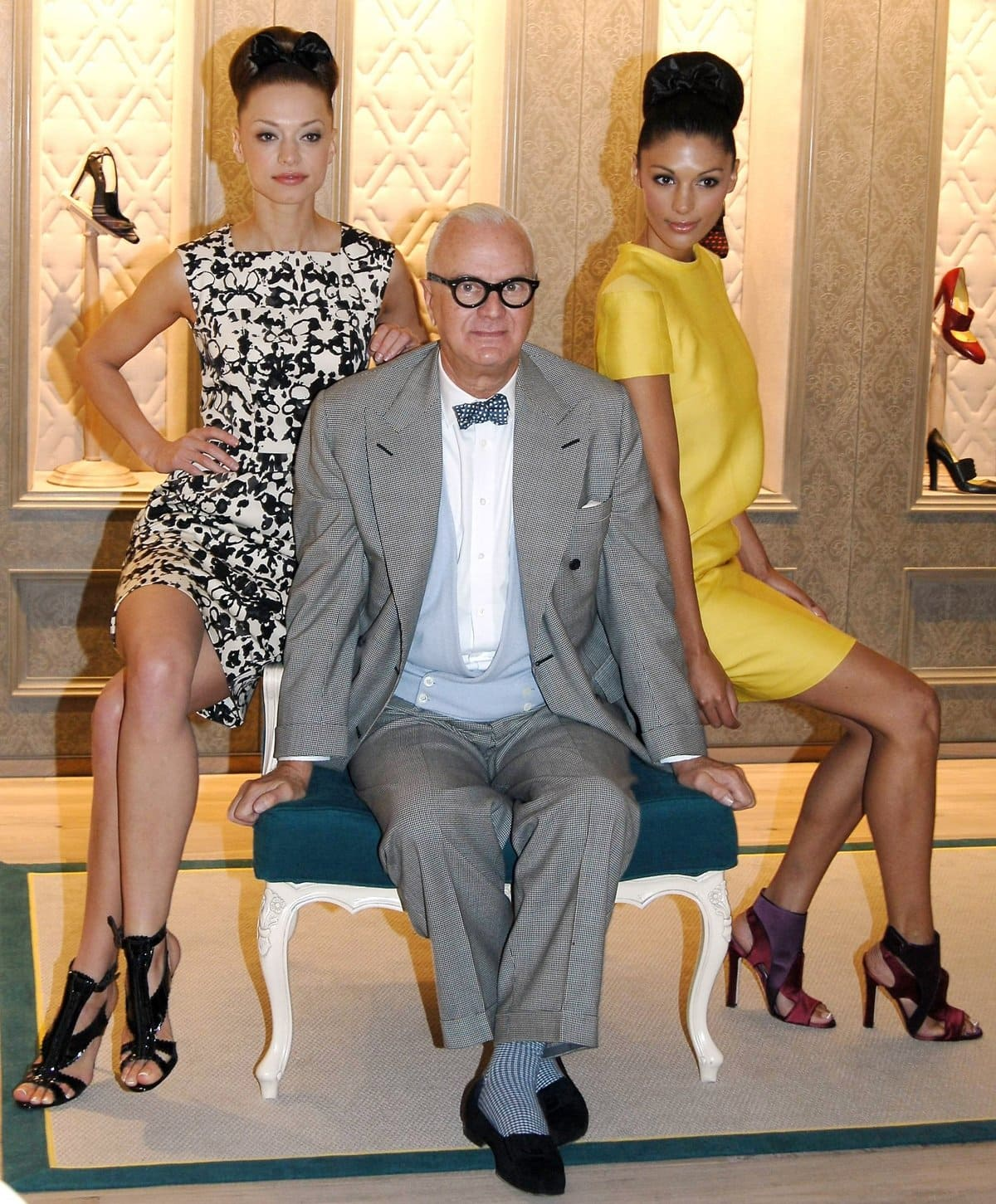 Lithuanian-born actress and model Irma Mali, footwear designer Manolo Blahnik, and model Semina Zia celebrate the opening of his exclusive new boutique at Brown Thomas in Dublin