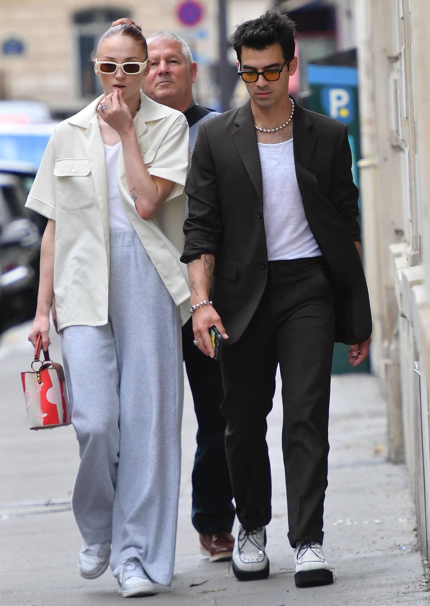 Sophie Turner and Joe Jonas hit the streets of Paris during Paris Fashion Week on July 8, 2021