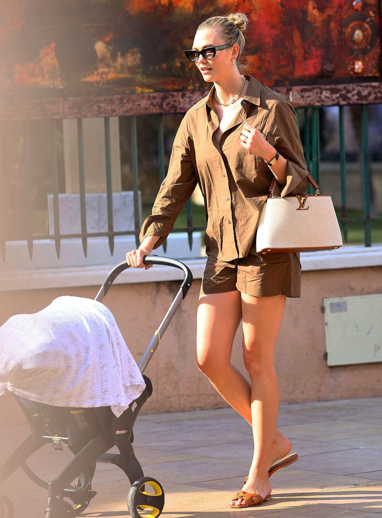 Karlie Kloss flaunts endless legs in trendy brown co-ords from The Frankie Shop