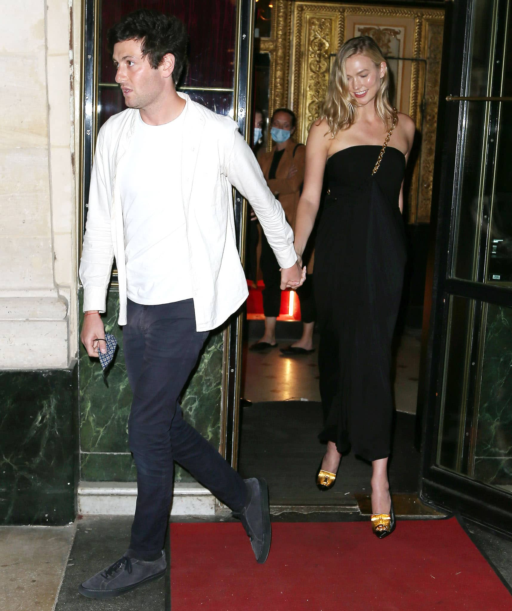 Joshua Kushner and Karlie Kloss step out for a dinner date at Le Grand Vefour restaurant during Paris Fashion Week on July 7, 2021