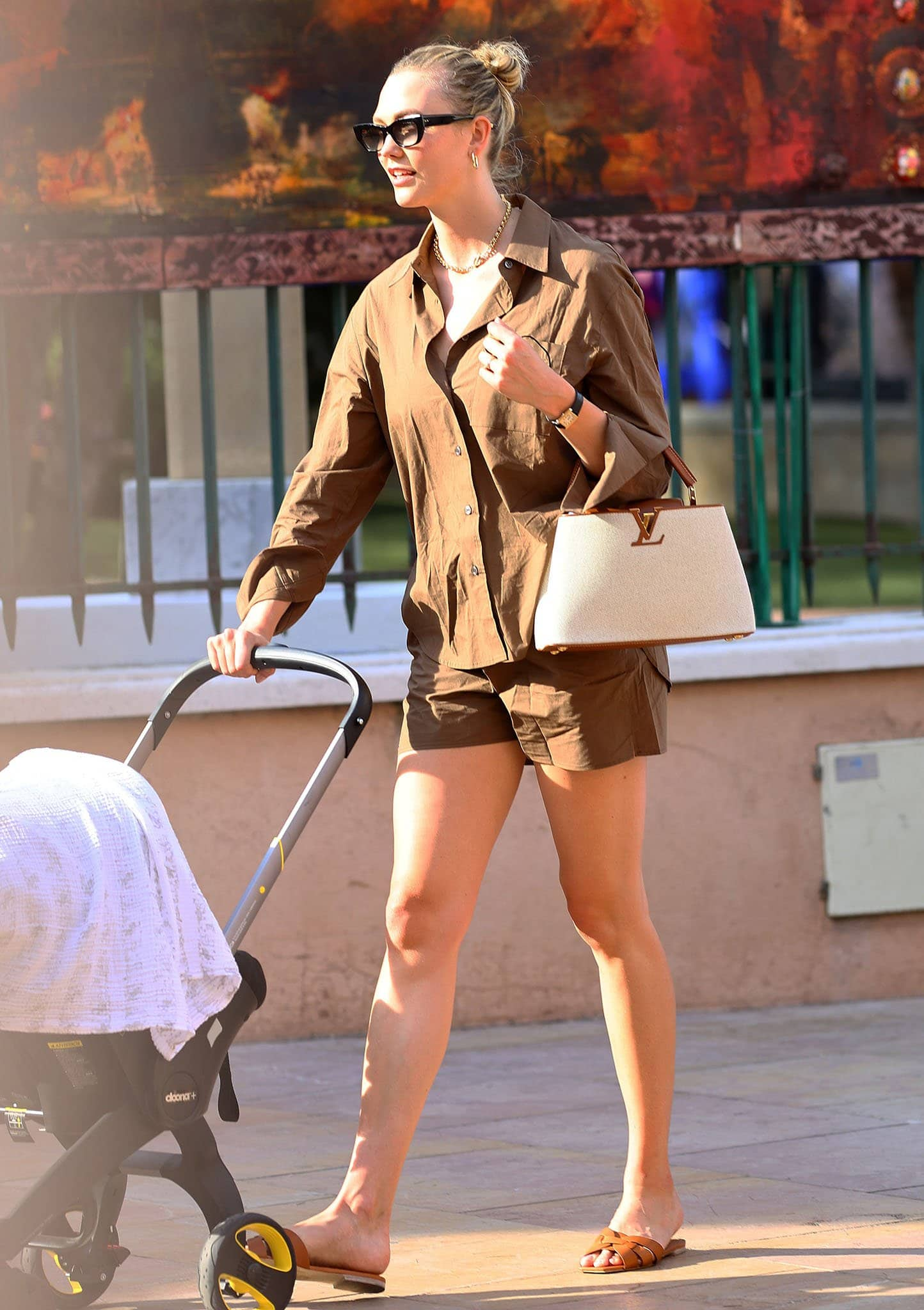 Karlie Kloss and her son Levi Joseph strolling around Saint-Tropez in France on July 24, 2021