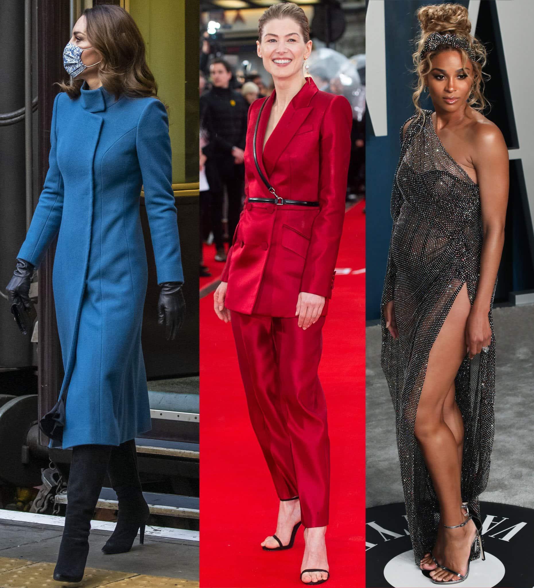 Kate Middleton, Rosamund Pike, and Ciara wearing Stuart Weitzman shoes