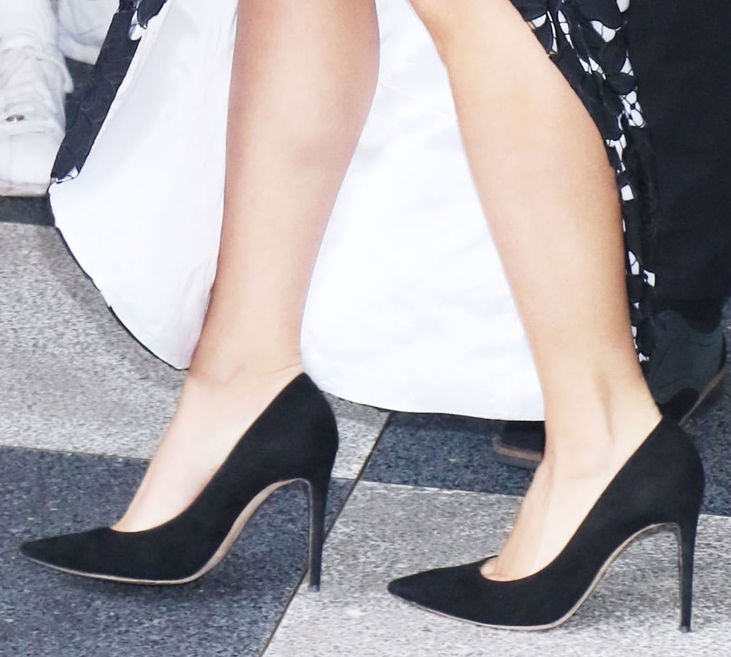 Lady Gaga completes her elegant black-and-white look with Giuseppe Zanotti Carolyne pumps
