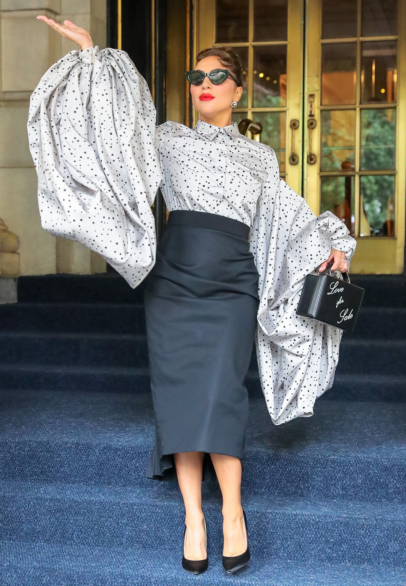 Lady Gaga makes a dramatic exit from Plaza Hotel in New York City on July 2, 2021