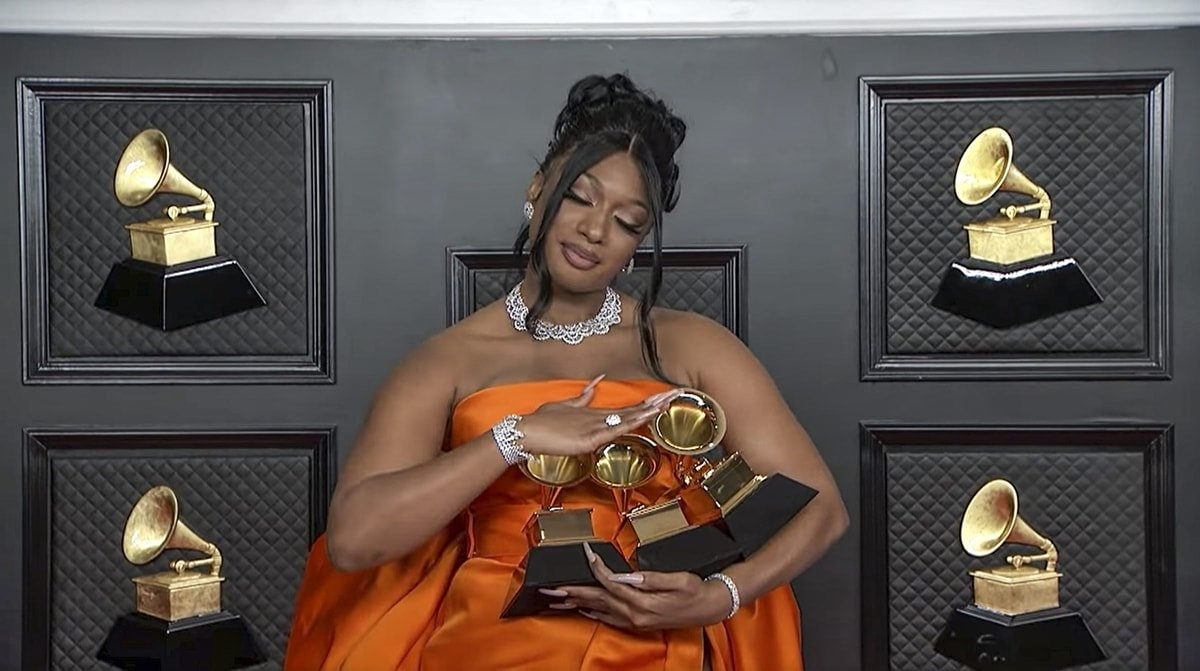 """Megan Thee Stallion won three awards, Best New Artist, Best Rap Performance, and Best Rap Song for """"Savage"""" with Beyonce, at the 2021 Grammy Awards"""