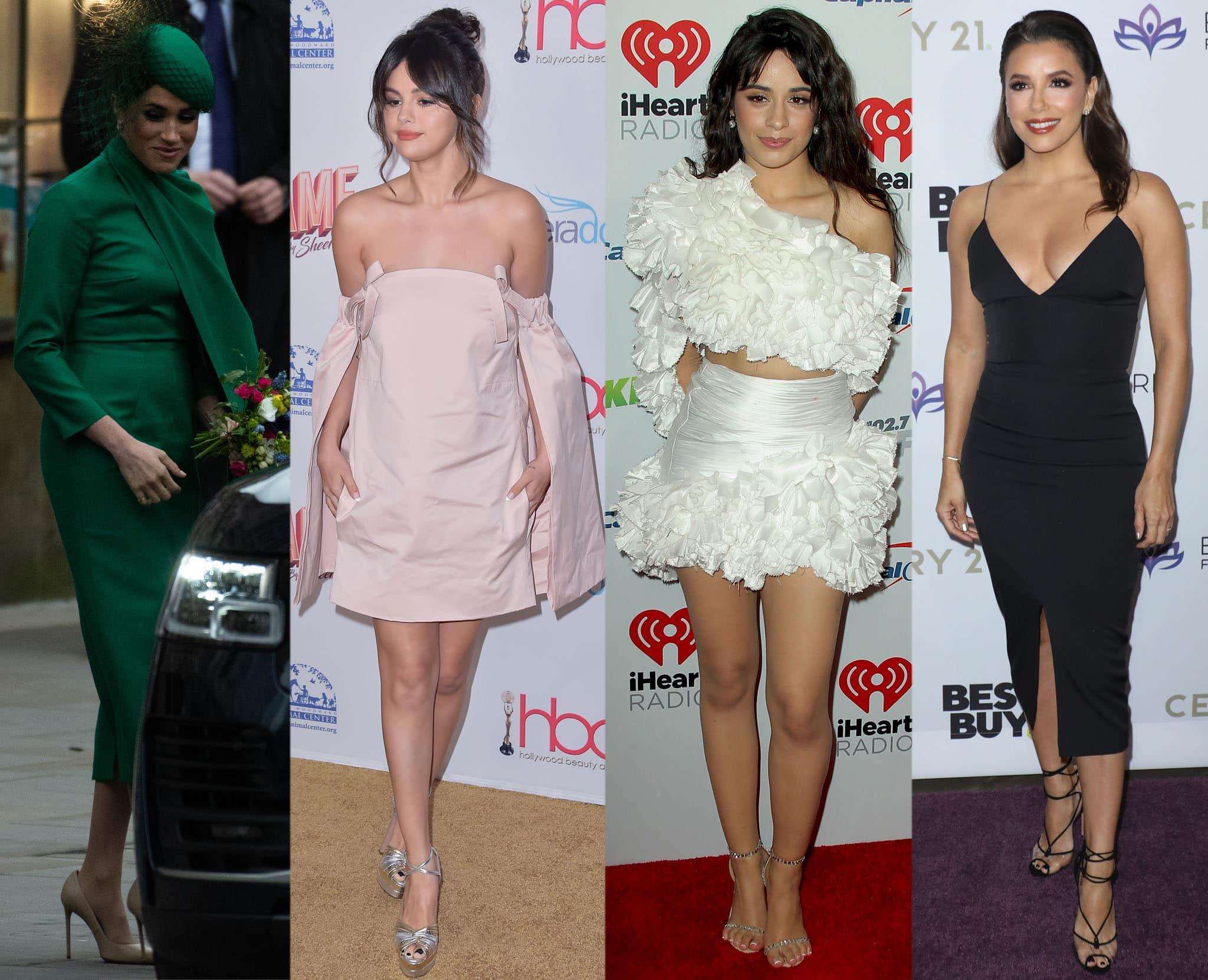 Meghan Markle, Selena Gomez, Camila Cabello, and Eva Longoria wearing their chic Aquazzura heels
