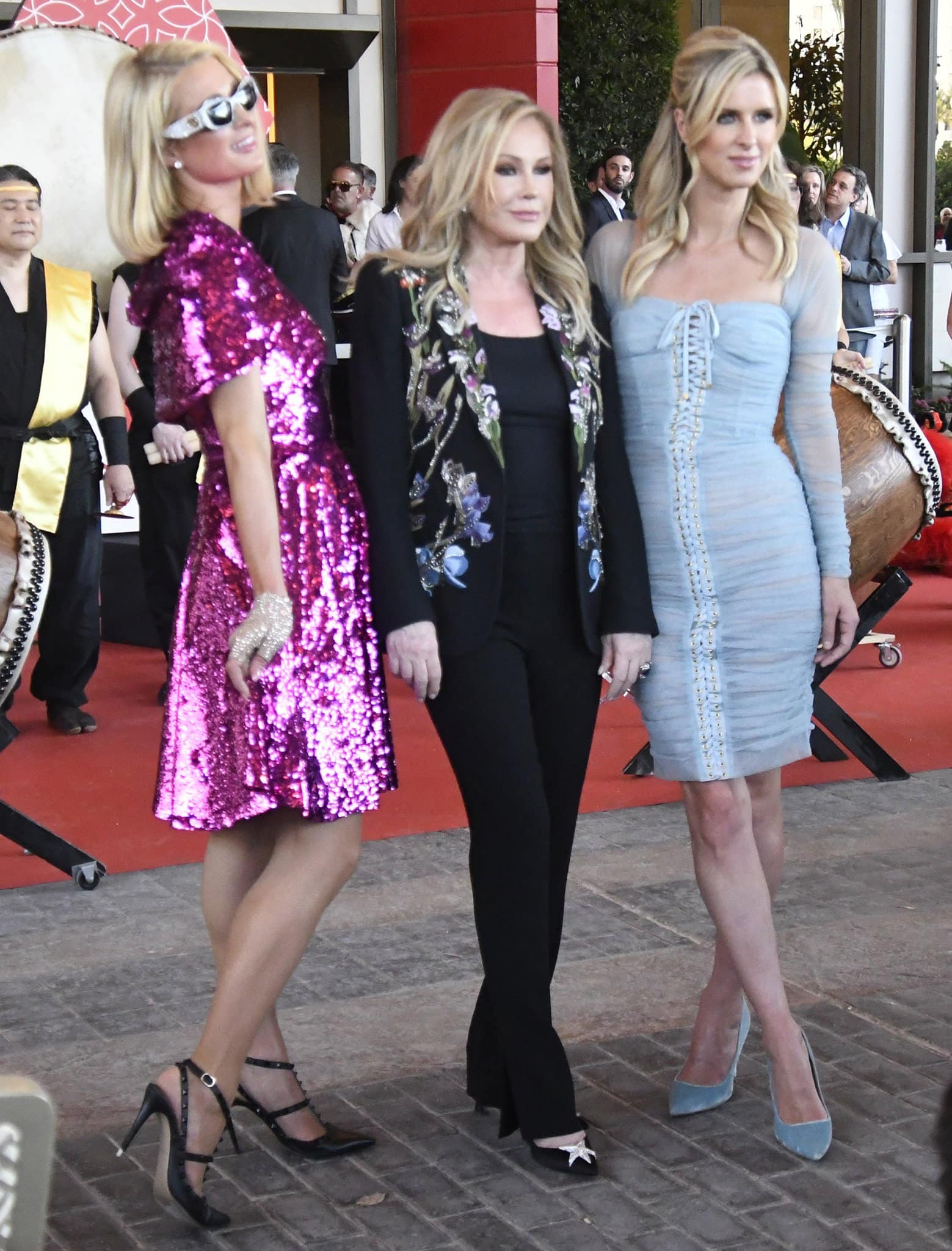 Nicky Hilton wears an understated light blue sheer corset-style dress from Dolce & Gabbana