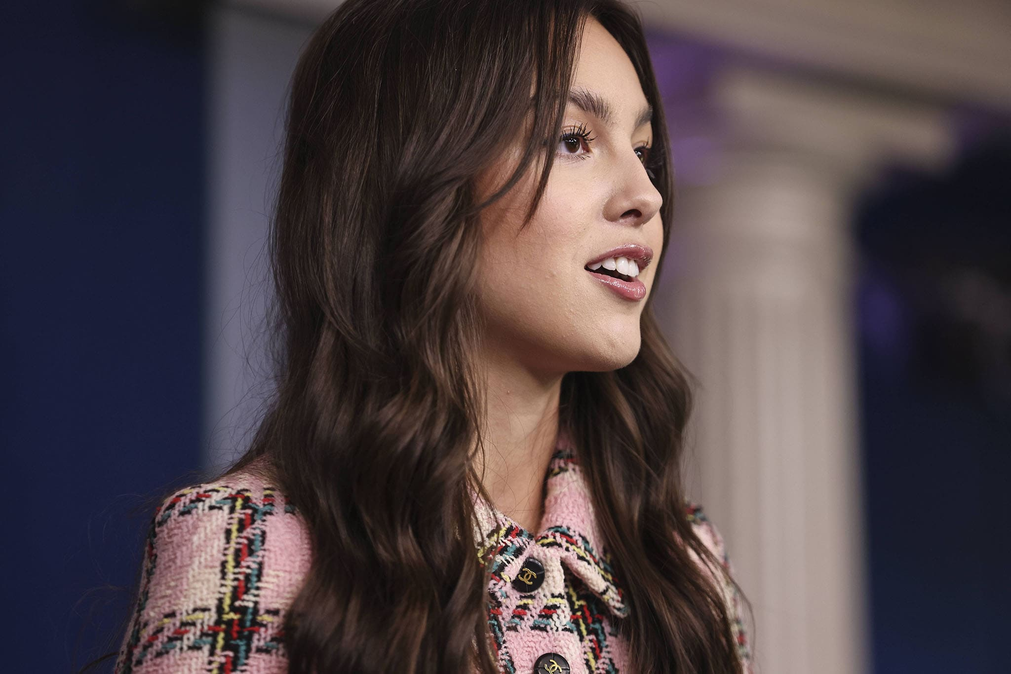 Olivia Rodrigo speaks about the importance of youth vaccination during the press briefing at the White House on July 14, 2021