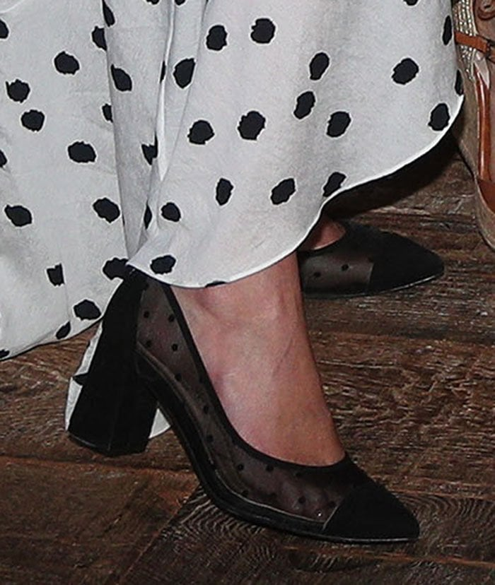 """Nicky Hilton coordinates her dress with her dotted French Sole """"Holly"""" pumps"""