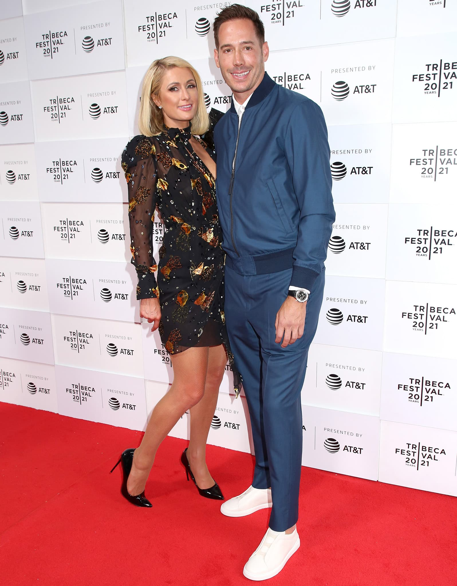 Paris Hilton and fiancé Carter Reum at the screening of This is Paris documentary during the 2021 Tribeca Film Festival closing night on June 20, 2021