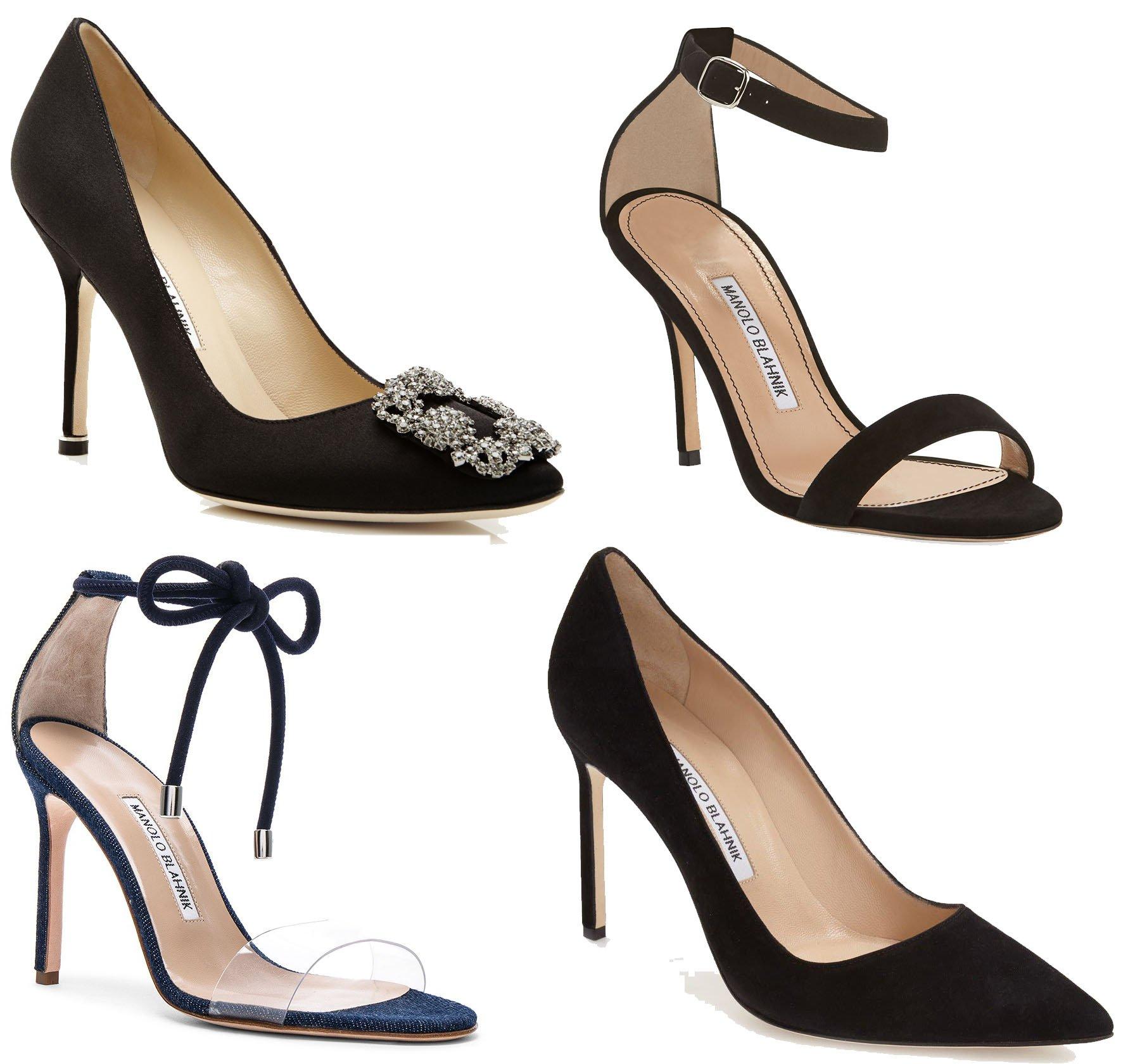 Manolo Blahnik's Hangisi pumps, Chaos sandals, Estro, and BB pumps feature a timeless design