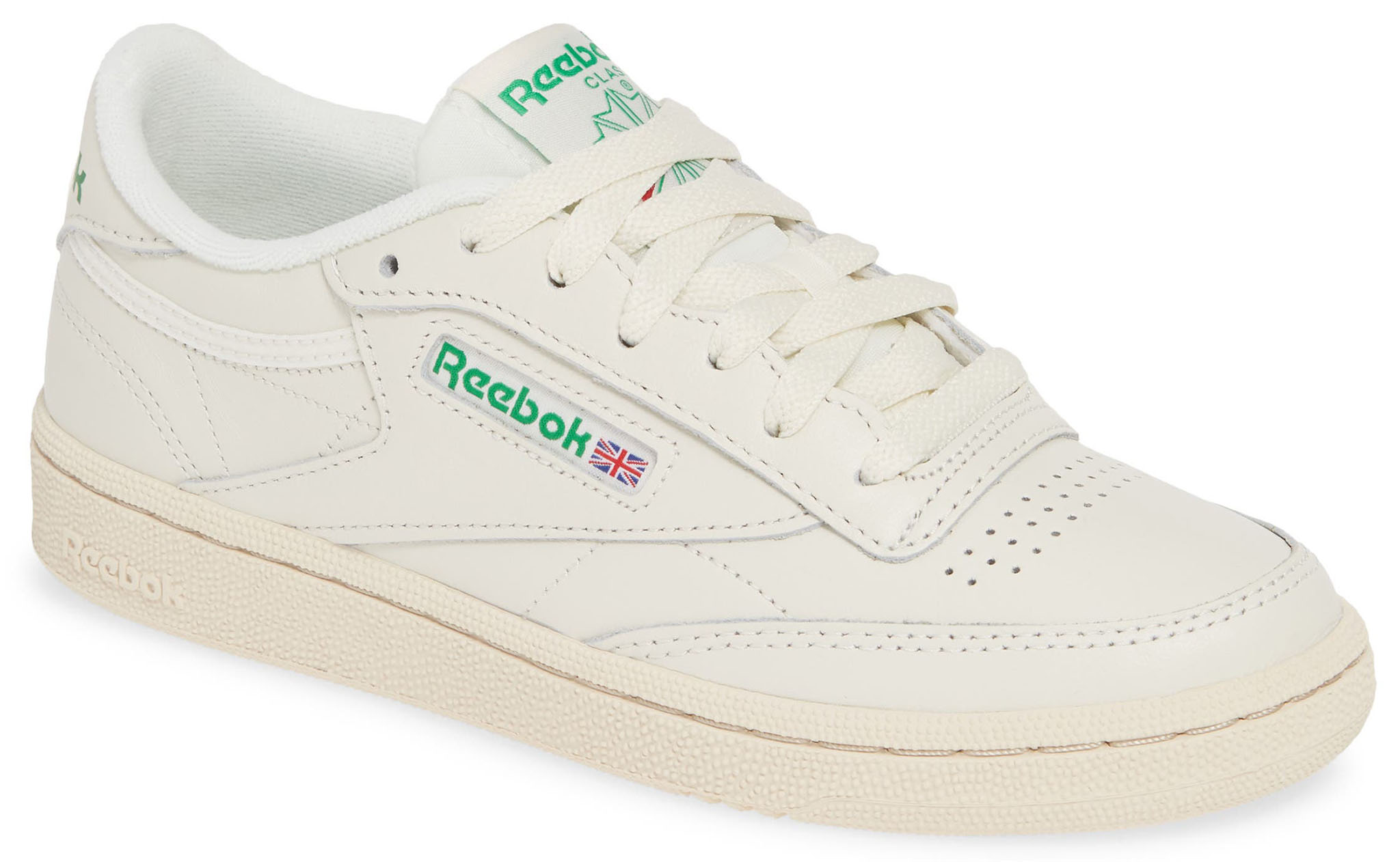 The toe perforations and window-detailed logo define the Reebok Club C 85 sneakers