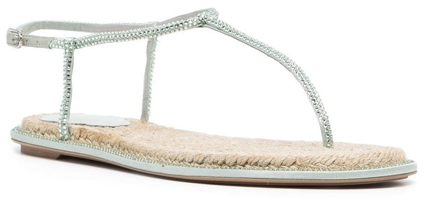 A trendy summer thong sandal with raffia soles and crystal-embellished straps