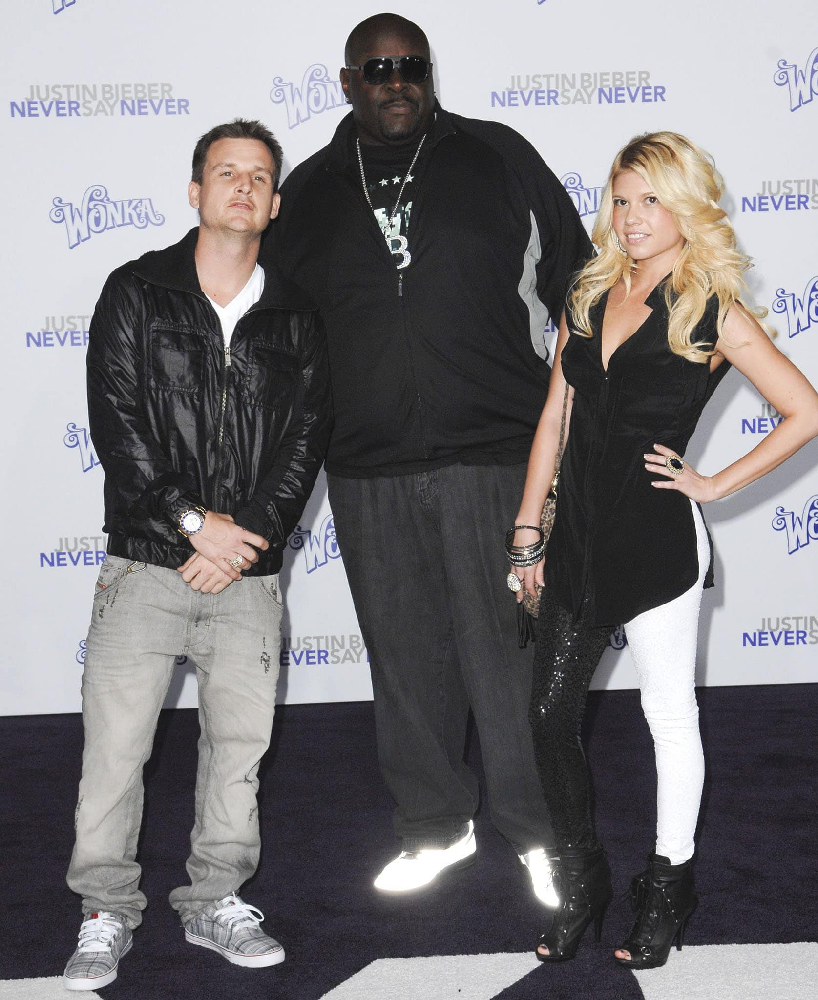 """Rob Dyrdek with the late Christopher Boykin and Chanel West Coast at the Los Angeles Premiere of """"Justin Bieber: Never Say Never"""" on February 8, 2011"""
