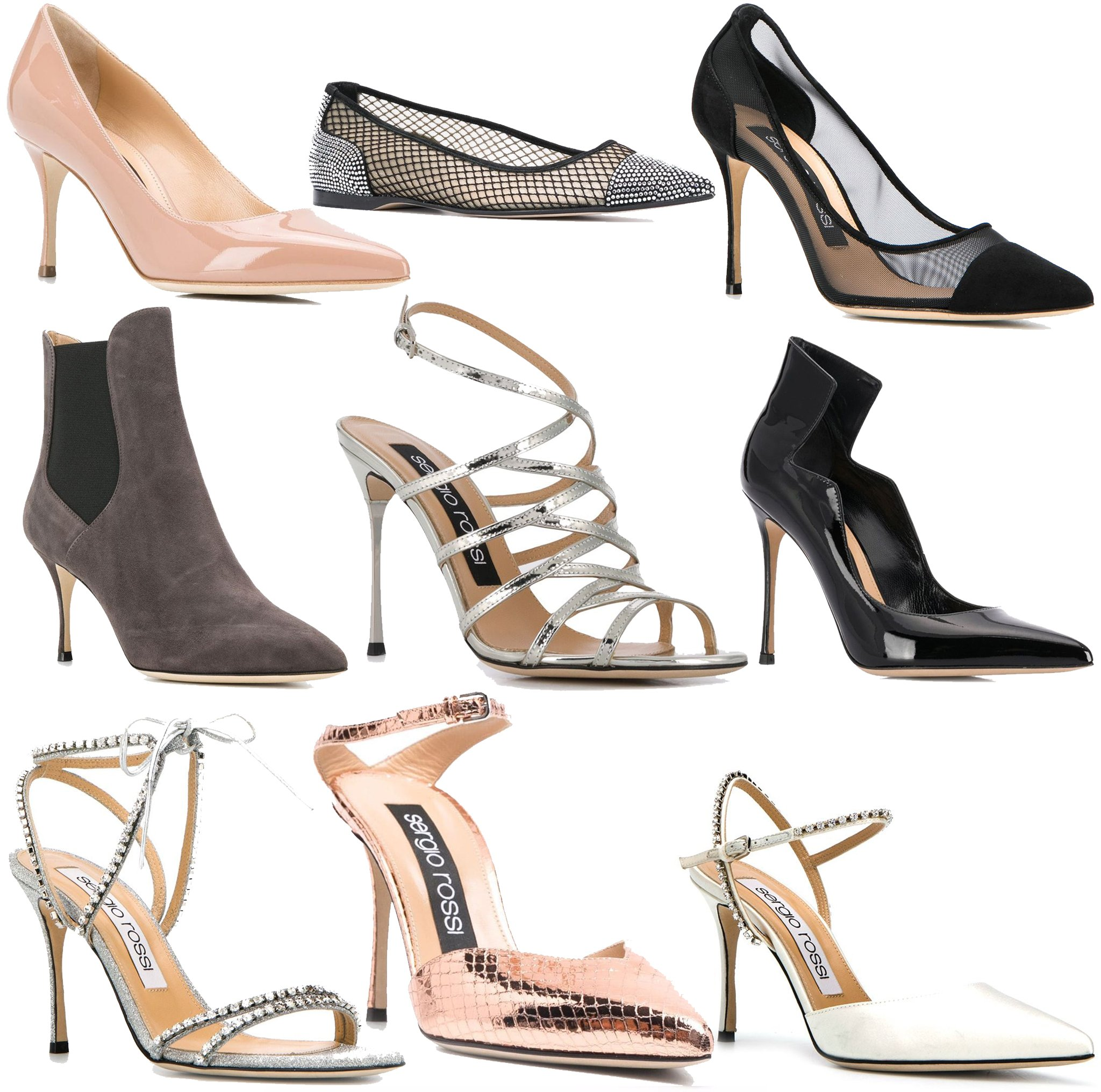 Sergio Rossi's famous Godiva style is available in a variety of silhouettes and materials