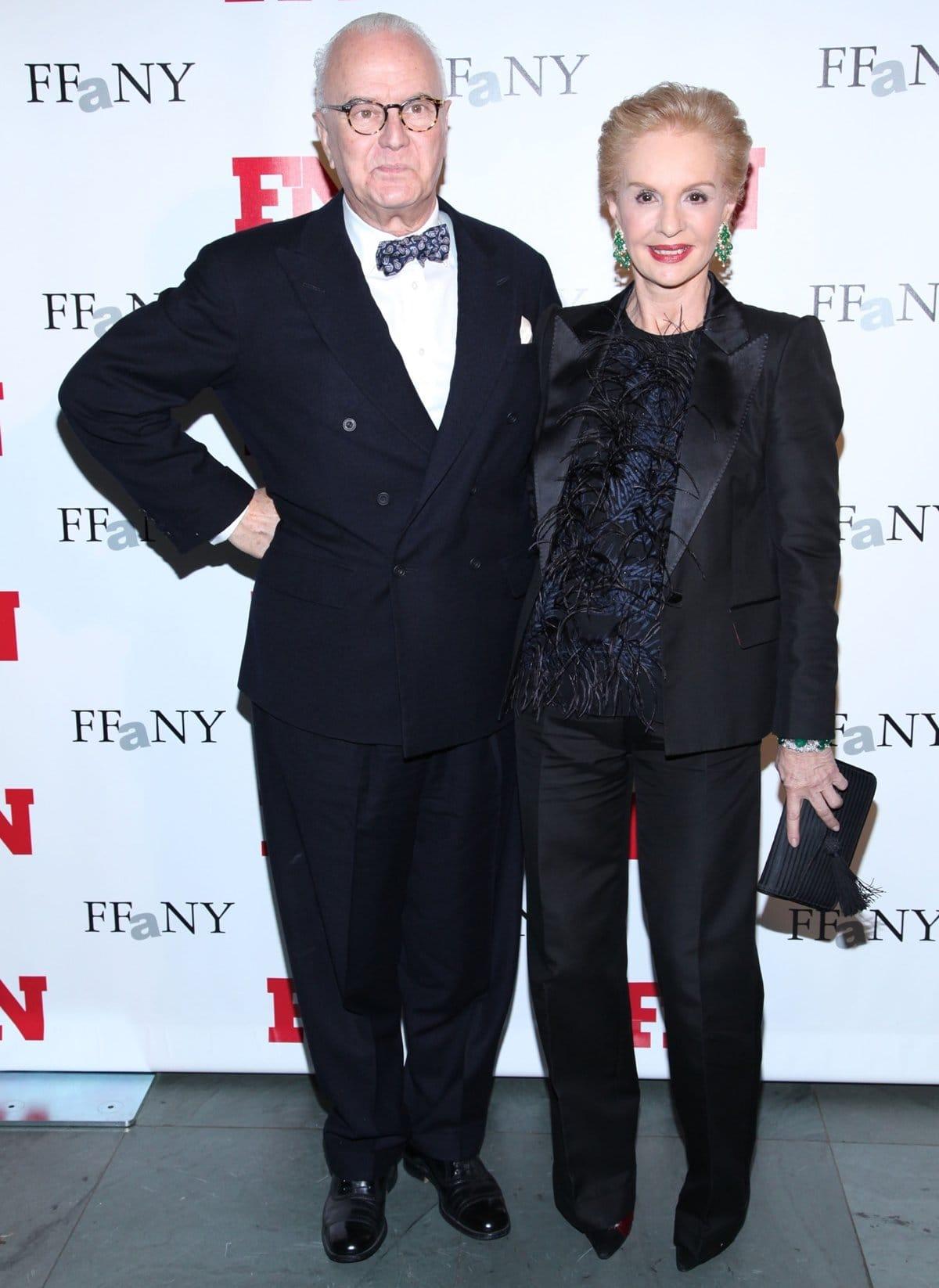 Shoe designer Manolo Blahnik (L) and designer Carolina Herrera attend the 25th Annual Footwear News Achievement Awards at the Museum of Modern Art on November 29, 2011, in New York City