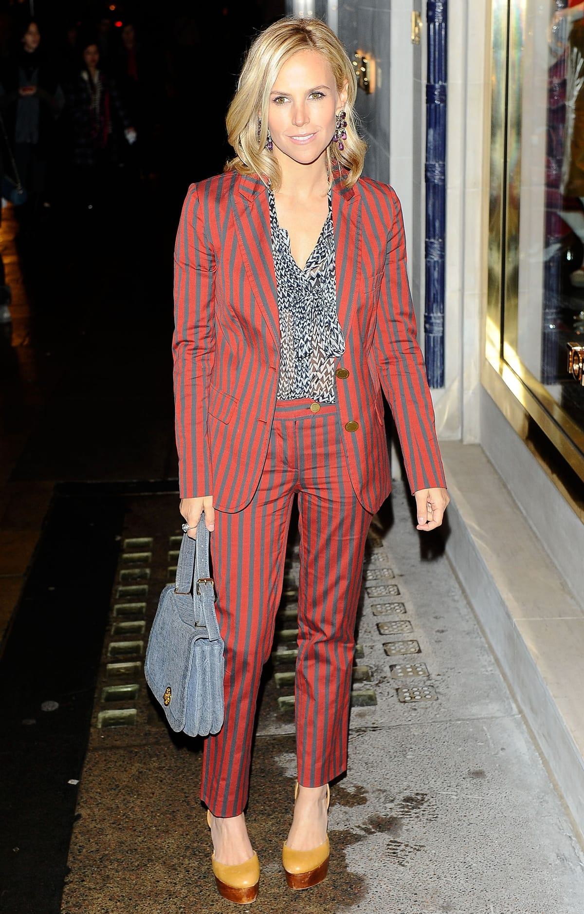 Tory Burch in a striped suit at the opening of her first London flagship store