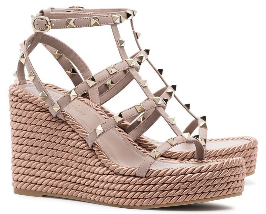 Splurge on these chic and timeless Valentino Rockstud caged platform wedges