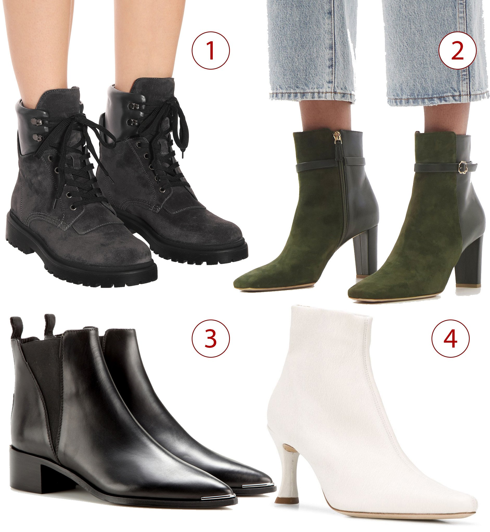 1. Moncler Patty suede ankle boots, 2. Malone Souliers Kris buckled suede and leather boots, 3. Acne Studios Jensen leather ankle boots, 4. By Far heeled ankle boots