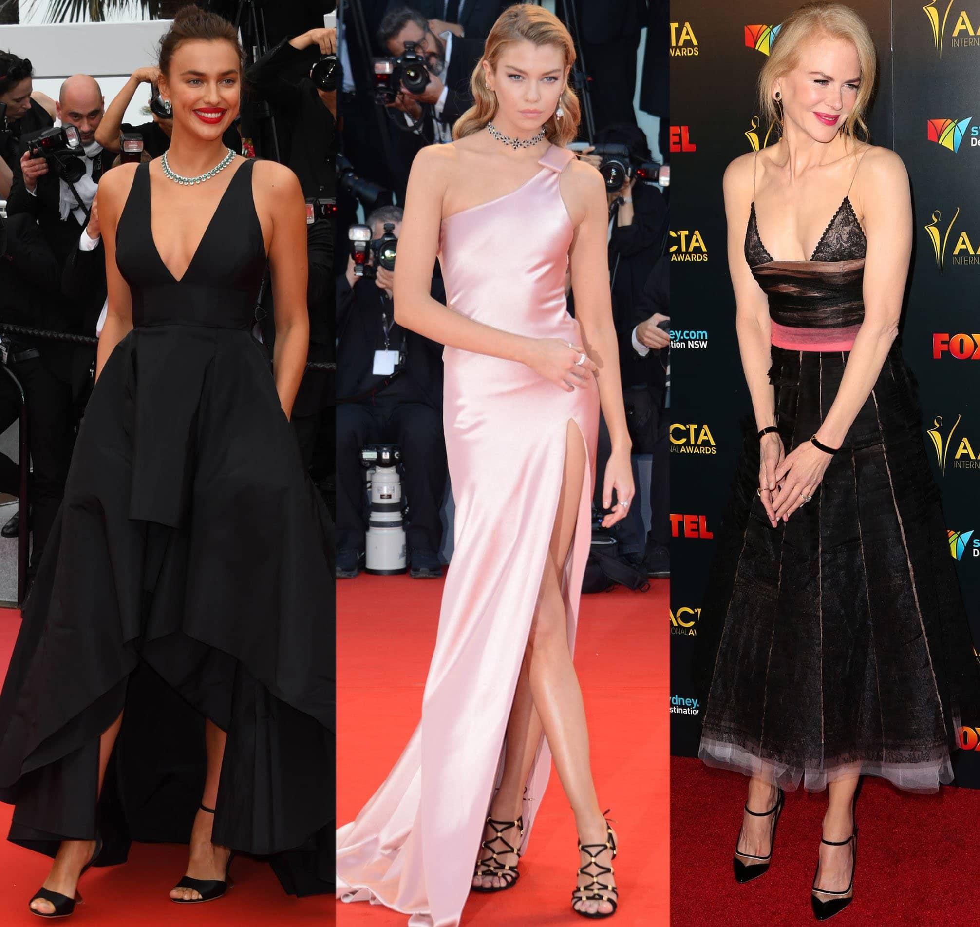 Irina Shayk, Stella Maxwell, and Nicole Kidman sporting Salvatore Ferragamo heels on the red carpet