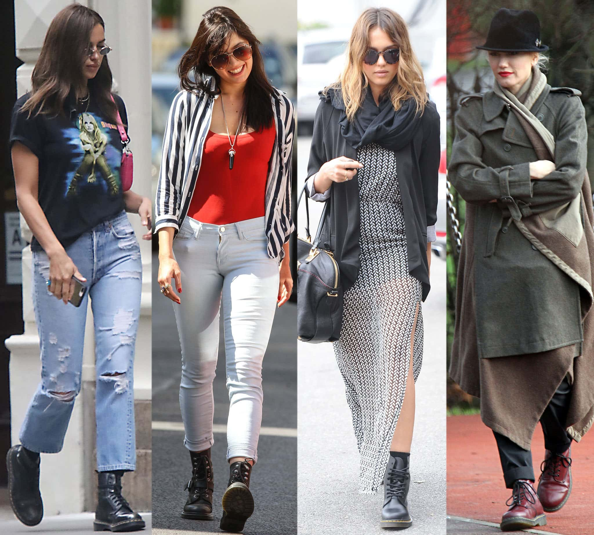 Irina Shayk, Daisy Lowe, Jessica Alba, and Gwen Stefani in Dr. Martens boots