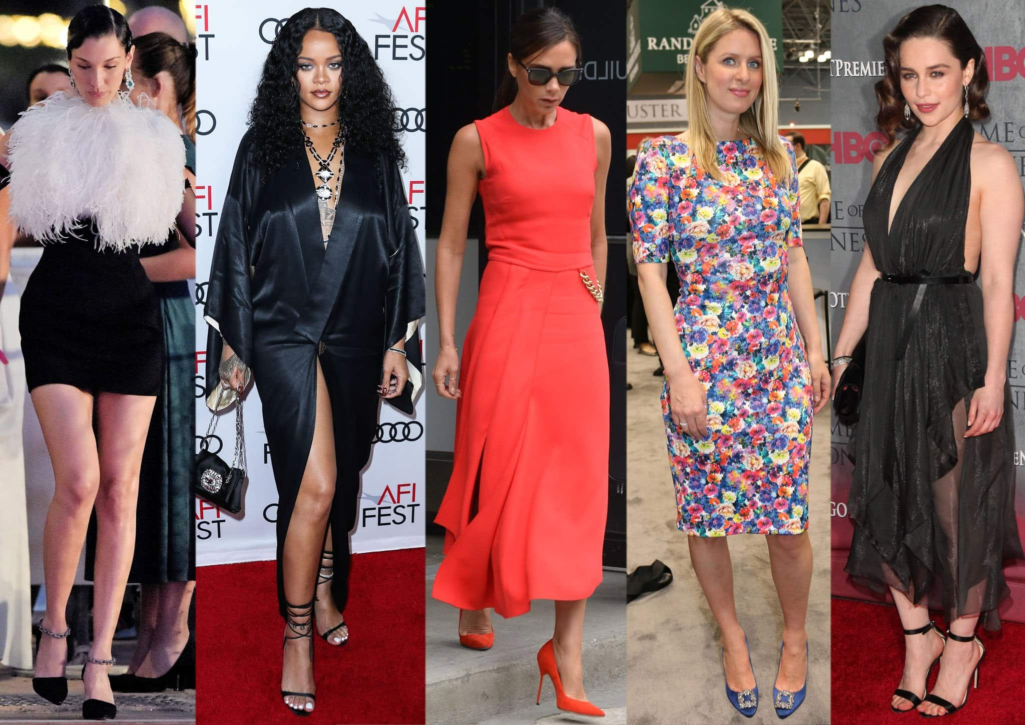 Bella Hadid, Rihanna, Victoria Beckham, Nicky Hilton, and Emilia Clarke pair their dress with Manolo Blahnik shoes