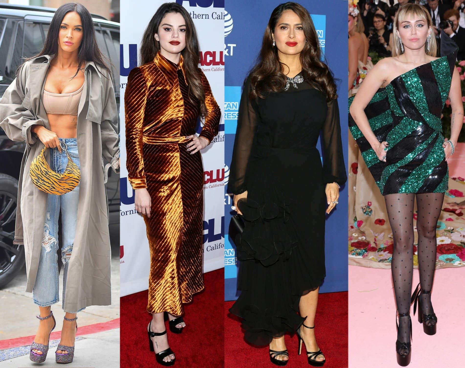 Megan Fox, Selena Gomez, Salma Hayek, and Miley Cyrus add height to their frame with platform heels