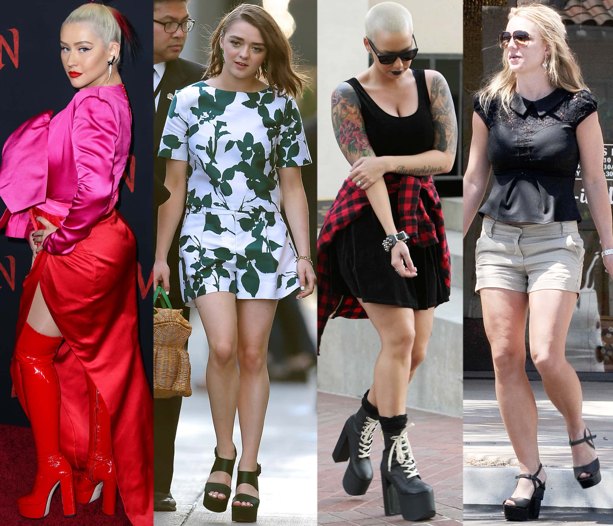 Christina Aguilera, Maisie Williams, Amber Rose, and Britney Spears wearing platform shoes