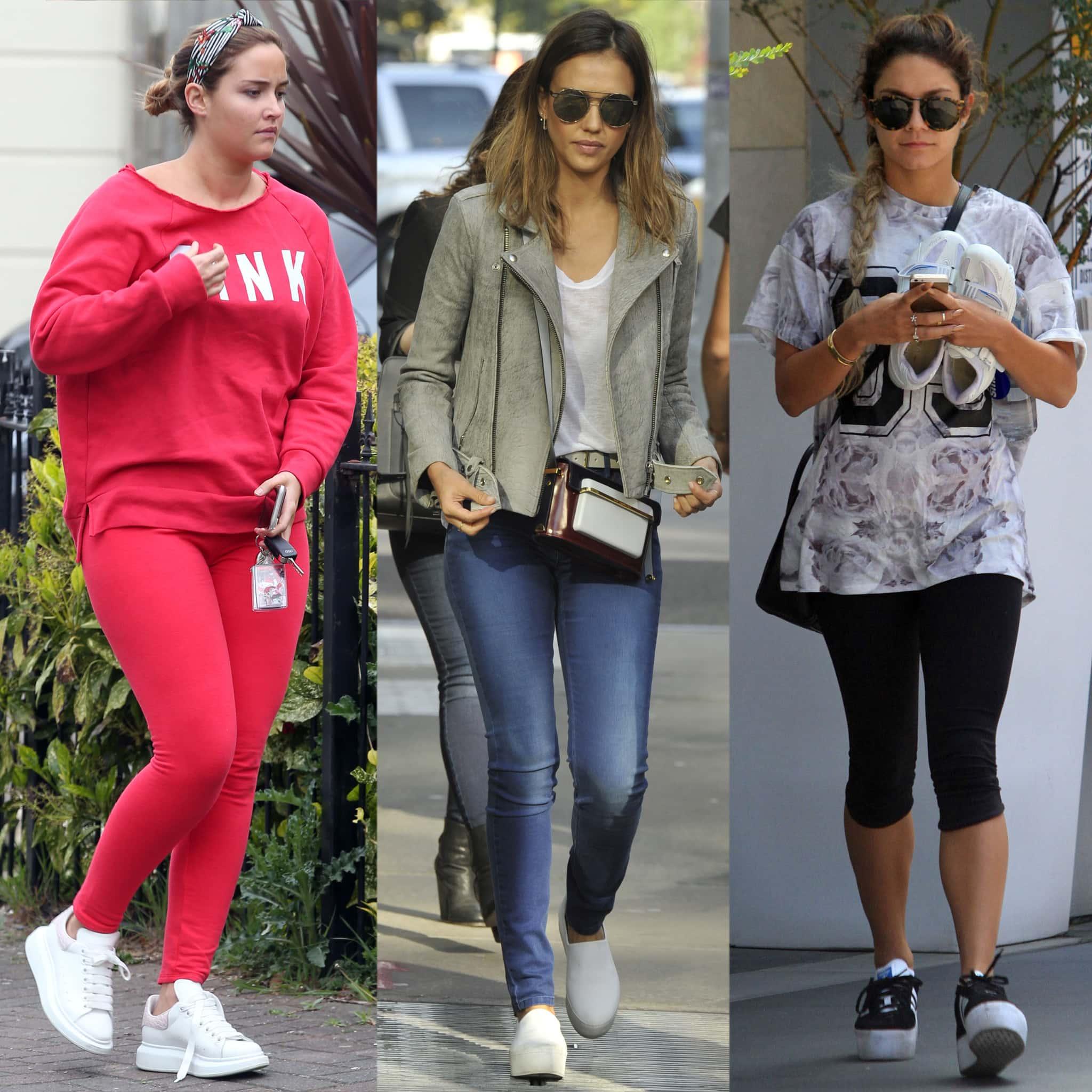 Jacqueline Jossa, Jessica Alba, and Vanessa Hudgens in comfy platform sneakers