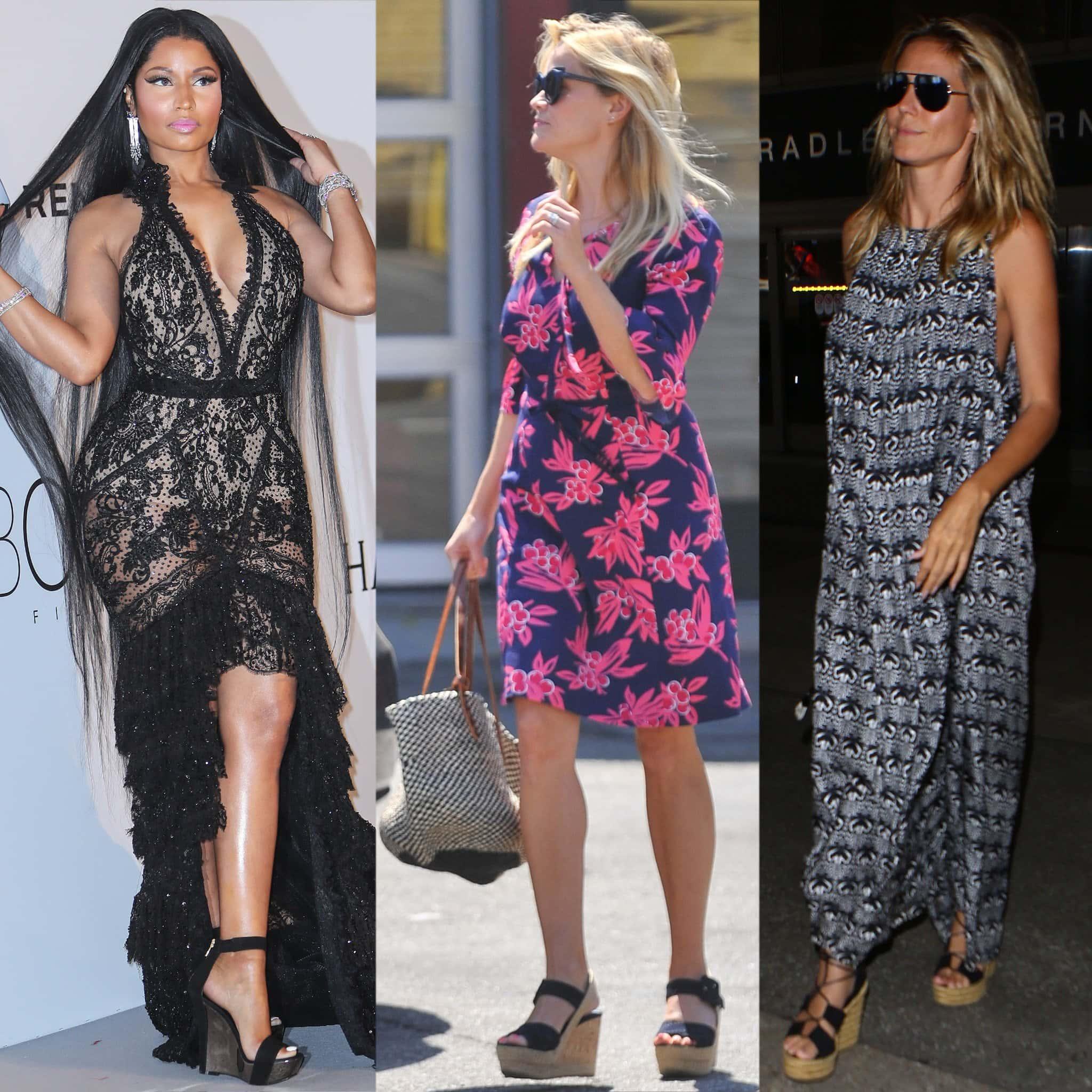 Nicki Minaj, Reese Witherspoon, and Heidi Klum in summery platform wedge sandals