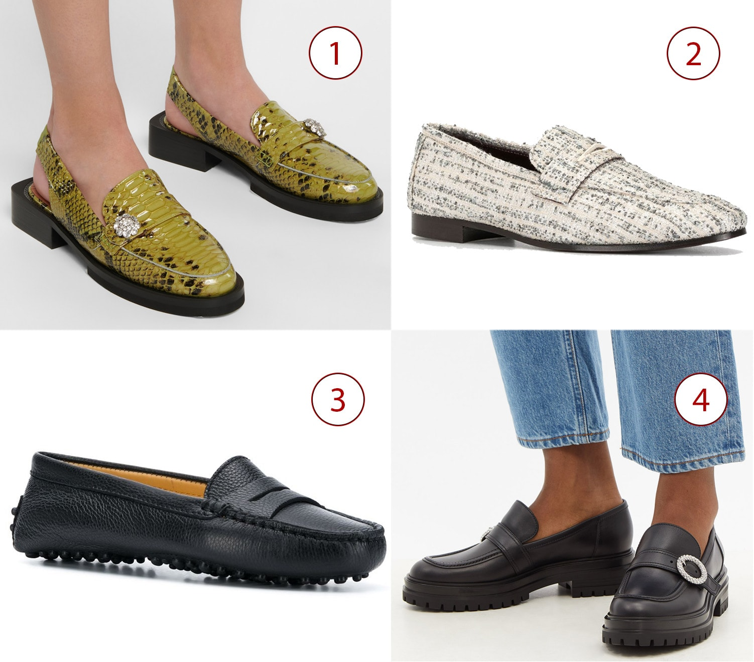 1. Ganni Snake-effect leather slingback loafers, 2. Bougeotte flat tweed loafers, 3. Scarosso Sofia loafers, 4. Gianvito Rossi Crystal-buckle leather loafers