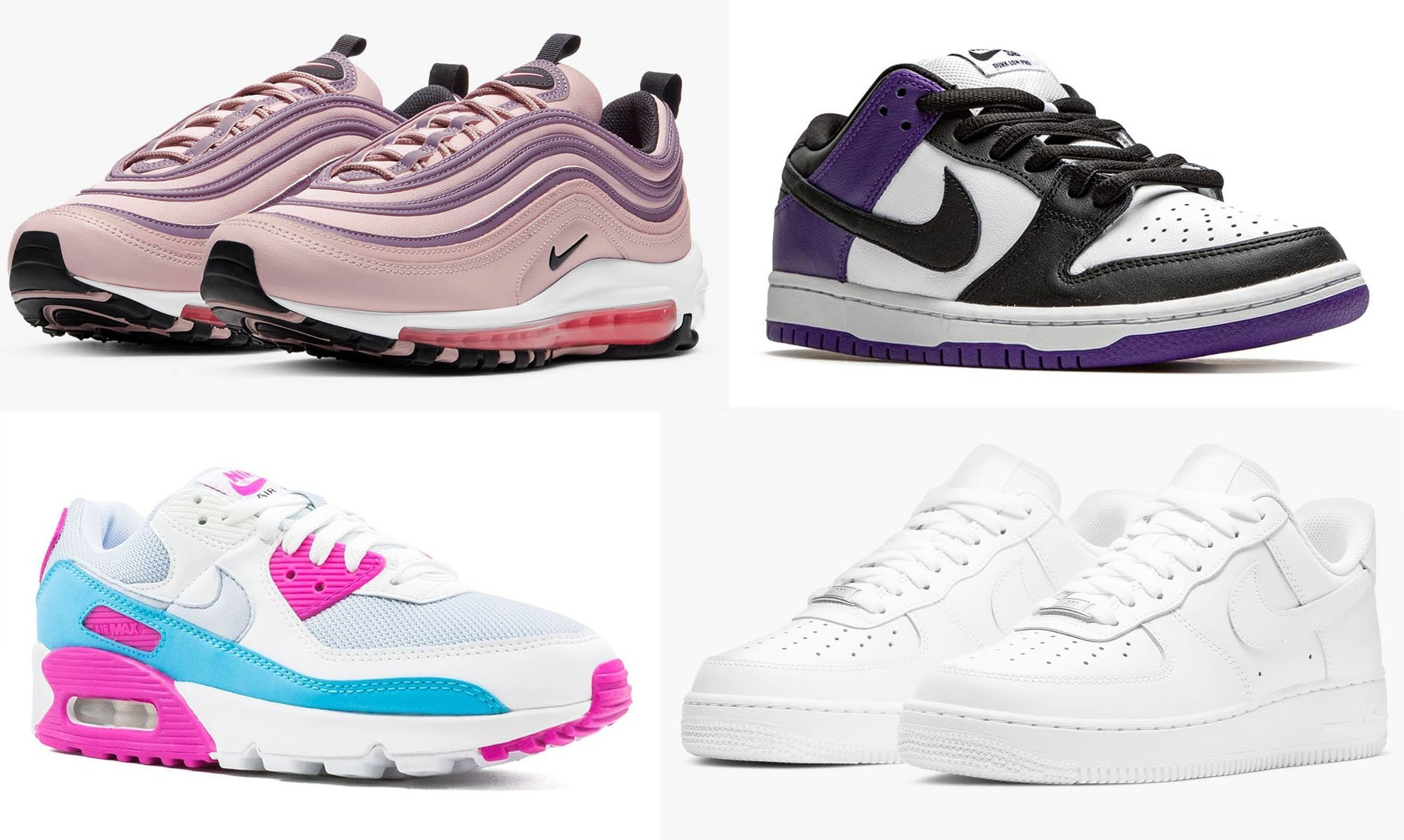 Some of the most popular Nike shoes of all time include the Air Max 97, Dunk Low SB, Air Max 90, and Air Force 1
