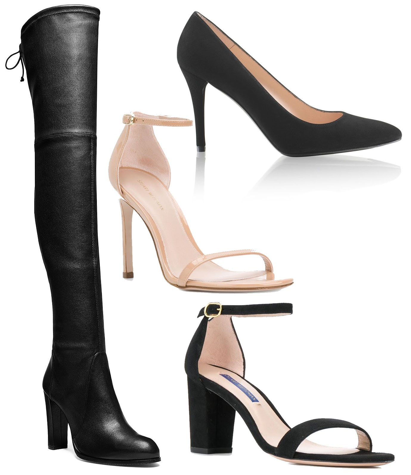 Some of Stuart Weitzman's most popular styles are the Highland boots, Power pumps, and Nudist sandals