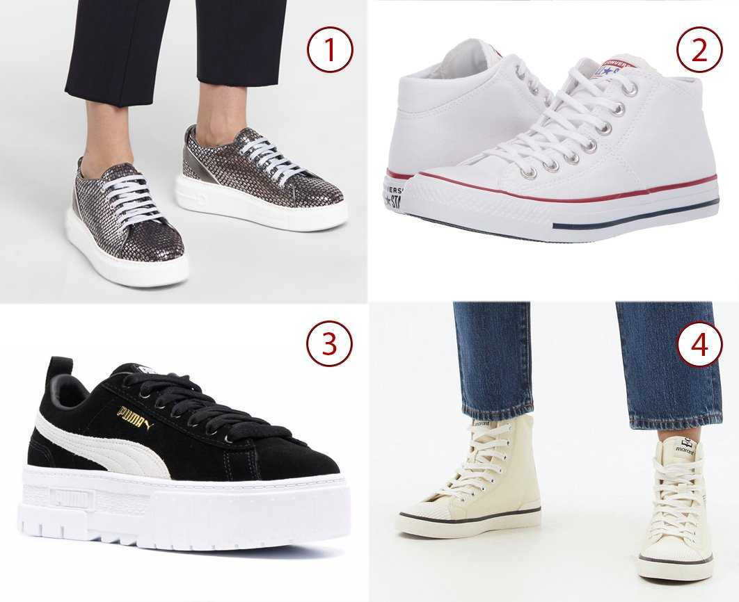 1. Salvatore Ferragamo Senise embossed leather sneakers, 2. Converse Chuck Taylor All Star Madison, 3. Puma Mayze platform sneakers, 4. Isabel Marant Benkeen high-top canvas trainers