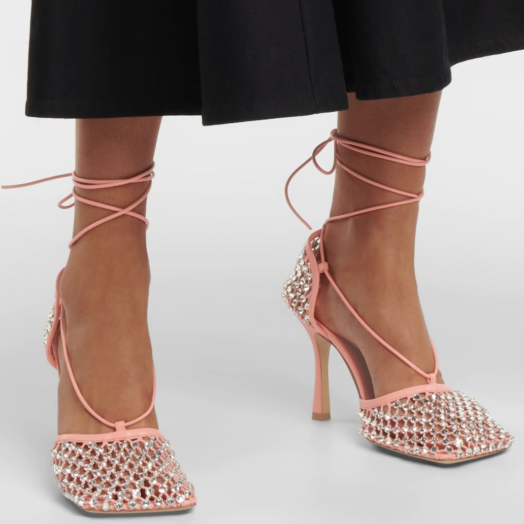 Bottega Veneta's The Sparkle Stretch sandals in pastel pink are made from cushioning nappa leather with rhinestone-encrusted mesh square toes and heel counters