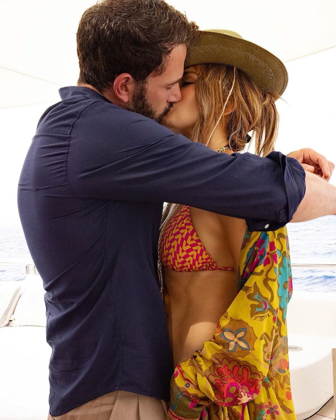 Ben Affleck and Jennifer Lopez share a kiss while on the luxury Valerie yacht in France on July 24, 2021