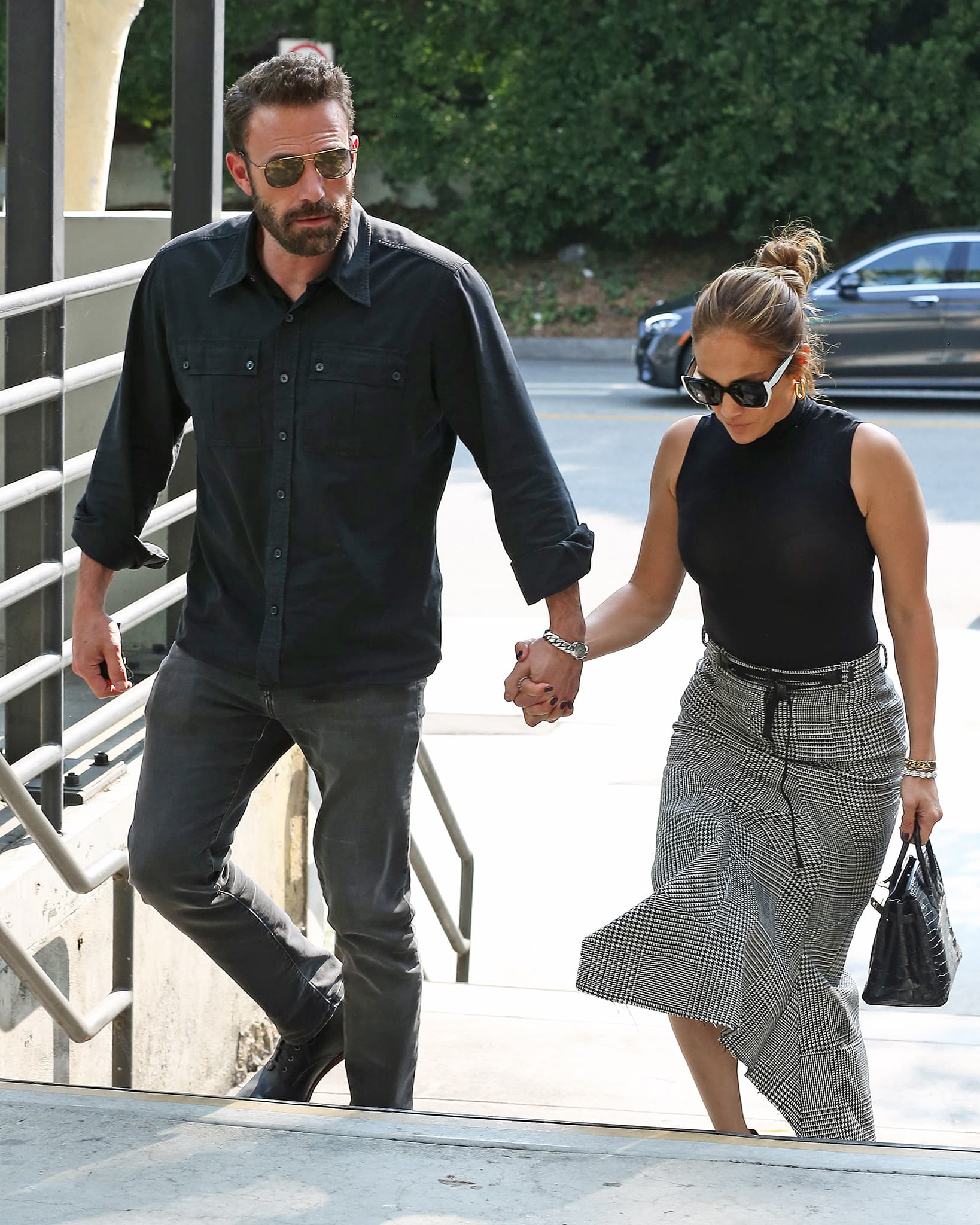 Ben Affleck and Jennifer Lopez go shopping at Westfield Mall in matching business-casual outfits on August 24, 2021